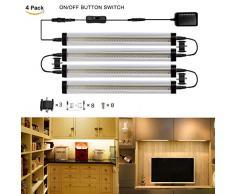 GreenSun LED Lighting 3 W 30 cm alluminio Slim Line bianco caldo 4 LED striscia di luce da incasso Strip lampada per mobili lampada da armadio con interruttore on/off per cucina armadio vetrine.