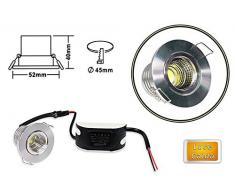 Vetrineinrete® Faretto led incasso 3 watt 1 led cob orientabile luce bianca calda naturale 6500k 3000k 4000k soffitto illuminazione luce controsoffittatura lampadina (Silver, 3000k) F31