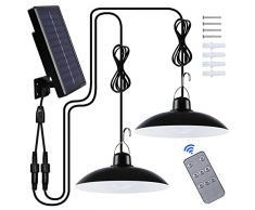 Luce Solare LED Esterno, IP65 Lampada Solare da Esterno Impermeabile Doppia Testa Lampade Solari a Sospensione con Telecomando per Giardino Garage Agriturismi