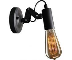 XIHOME lampada da parete industriale, faretto da parete retro/vintage, escl.max.60W E27 illuminante Edison, metallo nero, spot da parete con design regolabile, lampada da bar caffetteria loft
