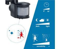 Electraline 363004 Faro Faretto Alogeno con Sensore di Movimento 120W/150W Luce Calda, Nero