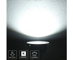 Dimmerabile 5.5W GU10 Lampadina Faretto LED Equivalente 50W luce alogena Bianco Freddo 6000K RA90 550LM AC200V-240V 90°Angolo Del Fascio 5 Pezzi。