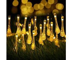 KEEDA Luci a Filo Solari da Esterno, 20 LED 4.8M Impermeabili luci della stringa solare per Giardino, Patio, Cortile, Albero di Natale e Decorazioni Natalizie (Bianco Caldo)