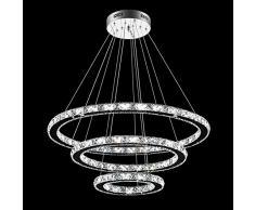 SAILUN 72W Cristallo di lusso moderno ha condotto il pendente con uniche Tre anelli,Modern Home soffitto lampade, luce del pendente Lampadari Illuminazione lampada a sospensione Bianco caldo