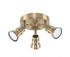 MiniSun – Plafoniera rotonda, moderna e retrò con 3 luci spot regolabili ed una finitura di colore d'ottone antico – Lampada da soffitto