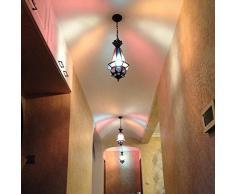 Marocco metallo vetro colorata luce da soffitto corridoio Mediterraneo corridoio catena ciondolo lampada camera da letto Gallery Ciondolo Balcone Illuminazione Fixtures