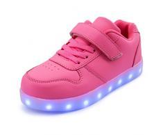 AFFINEST Led Con Luci Sneakers Bright Light USB 7 Colori Bambino Scarpe Lampeggiante bambini ragazzi ragazze regalo Natale Capodanno(rosa-B,30)