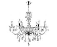 Lampadario in Vetro Cristallo con 6 Punti Luce, Lampadario in Vetro Elegante con Gocce Pendenti in Vetro, Design Elegante