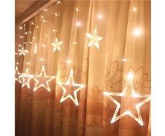 jysport LED luce tenda luce catena 2 m Stella tenda disegno di Natale decorazione per finestra giardino camera vacanza matrimonio, Star Weiß