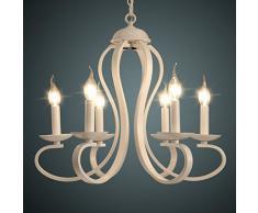 Lampadari In Ferro Battuto Bianco : Lampada lampadario sospensione ferro battuto luci bianco o