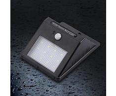 4 articoli - 12 LED Lampada Solare da Esterno Luci Solari per Giardino Impermeabile IP 65 Lampada da Parete con Sensore di Movimento Lampade di Emergenza ad Energia Solare per Casa - Nero