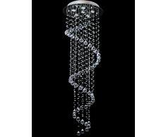 Dst spirale sfera di vetro trasparente goccia del gioiello di cristallo e perline soffitto lampade, 6 luci lampadario a sospensione per Soggiorno Camera da letto Sala da pranzo Superficie soggiorno D50cm H156c
