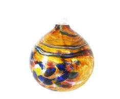 Lampada ad olio, lampada die vetro colorato e soffiato a petrolio in colore miele, colorato specchio, diametro circa 9 centimetri, progetto Oberstdorfer Glashütte