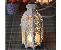 caolator ferro Candeliere Retro Ferro Marocco Bunter candeliere ferro Candeliere in vetro Lampada decorazione bianco