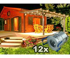 LED illuminazione esterna dimmerabile impermeabile IP65 Set completo 12 X 2Watt Mini Spot Bianco (6000 K) per terrazzi Carport invernale da giardino incasso profondità per profili in alluminio