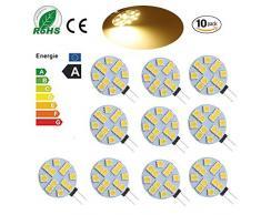 Ei-Home 5050-12 Lampadine SMD G4 a LED, Lampadine DC 12V RV, Sostituire lampada alogena, Faretto a LED G4 per casa, Paesaggio, Auto, Illuminazione dell'armadio, Illuminazione a binario, Bianco caldo, Confezione da 10