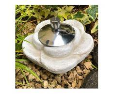 Fiaccola da giardino a forma di fiore, fiaccola, lampada da tavolo, lampada da tavolo in pietra pressofusa con contenitore dellolio in acciaio inox, 85 ml, peso circa 1,9 kg (design floreale)