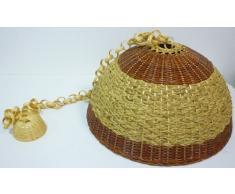 Lampadario B lampada in bamboo bambù rattan vimini e giunco appendibile per casa camera salotto cucina