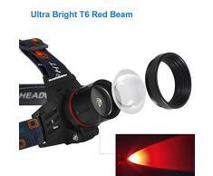 Lampada frontale con luce rossa, 1000 Lumen Lampade da Testa LED ricaricabile rosso, Zoom in grado per astronomia, caccia, campeggio, visione notturna (Solo rosso)