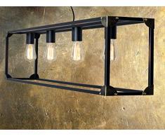 XXL Lampada industriale   Vintage   gabbia   Design Lampada A Sospensione   vierf lammige lampada   L = 120 cm   lampada a sospensione in stile loft vintage look   di   Nero   4 X E27 max. 60 W, Metallo   inclusa lampadina 4 X 60 Watt
