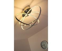 LED Plafoniera Lampada da Soffitto Design Moderno Anelli Metallo Cromato - 3000 Kelvin Illuminazione LED Interni Eleganza ed Efficienza