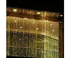 Minger Tenda Luminosa Catena Luminosa 3m x 3m 300 LED Bianco caldo Luci Natalizie per Interno & Esterno Ideale per Decorazione Natale/Matrimoni/Feste