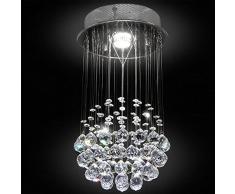 Bakaji Lampadario a Sospensione Lampada Da Soffitto Con Sfere e Pendenti In Cristallo Di Vetro Stile Moderno Classe A++ Dimensione 50x25x25cm Colore Argento