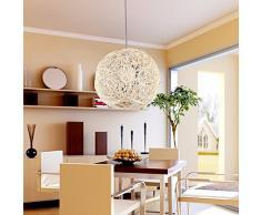 GQLB - Lampadario sferico realizzato in rattan, ideale per bar e salotto, effetto lounge 300mm