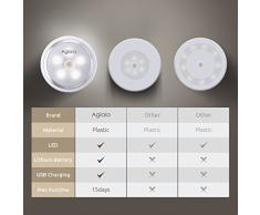 Aglaia Lampada da Parete con Sensore di Movimento Luce per Armadio 5 LED Ricaricabile con 2 Modalità d'Illuminazione,Lampade per Scale, Corridoio, Guardaroba, ecc.
