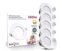 Faretti LED da incasso ultrapiatti, led integrati 5W, foro incasso Ø 78 mm, luci ultrasottili da soffitto e per l'illuminazione da interno, set da 5, rotondi, corpo in plastica bianco, 230V, IP23