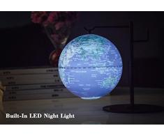 PROW® 5 pollici Sospensione Design Geografiche Educational globetrotter mappa mondo LED Notte lampada Globe Illuminato Globe mappamondi
