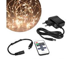 kwmobile luci LED catena luminosa - striscia 20m con telecomando - stringa luce con diversi effetti dimmer illuminazione decorazioni interni filo rame