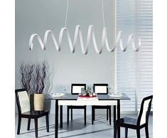Lampadari moderna e minimalista LED Lampadari a sospensione con paralume in spirale metallo lampada 88W 6000 Kelvin , Metallo e PC lampadario moderno, Lampadario sospeso (Bianco fredda-88W)