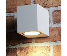 Piccola e compatta lampada da parete per esterni angolare bianca GU10 Faretto Lampada da parete Lampada da esterno Illuminazione Faretto da parete