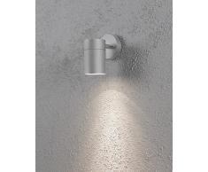Konstsmide 7657-300 Modena - Faretto da parete in alluminio laccato, 7,5 x 13 x 12 cm (larghezza x profondità x altezza), 1 lampadina da 35 W, IP44, colore: Grigio