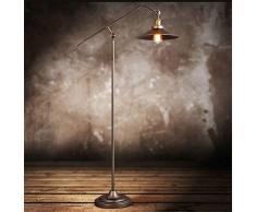 HKLY Lampada da Terra Orientabile Vintage, Lampada da Pavimento Ferro Battuto E27 Piantana da Lettura, Rame Antico Lampada a Stelo Industrial per Camera da Letto Soggiorno Sala da Pranzo