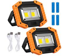 Lyneun Luci da lavoro Portatile, luce di Sicurezza USB Ricaricabile Faro led 30W Lampade Emergenza con 4 Batteria Impermeabile Faretti/Lampada da Cantiere per Cortile, Garage, Pesca (2 pezzi)
