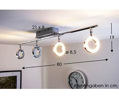 LED Plafoniera rettangolare design con riflettori ad anelli 4x5W metallo cromato moderno