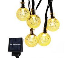 CMYK Catena a solare 6m, 30 Sfere , led bianco caldo, cavo nero, luci di Natale