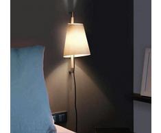 Proiettore Barcellona Hanoi DT00073-Lampada in metallo nichel satinato legno di rovere, con protezione schermo e tessuto grigio perla, colore: grigio
