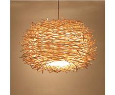 Plafoniera a LED Copertura intrecciata a mano Lampadario in rattan Paralume a nido dape in legno Lampada da soffitto in legno per bar, caffetteria, libreria, corridoio e soggiorno