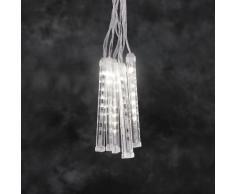 Konstsmide 2760-103 / Tenda di luci LED 6 bacchette effetto neve luccicante / 60 diodi bianco caldi/a batteria sino a 130h / cavo trasparente