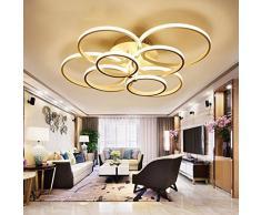 WEITING Super-sottile cerchio anelli moderna lampada a sospensione a soffitto lampada da salotto camera da letto moderno lampadario a soffitto lampadario luci , Cool White , 8 head