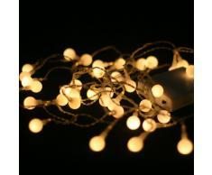 Brightstuff - Luci a LED natalizie, per uso interno, 40 luci, luce bianca calda
