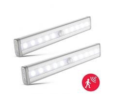 Lampada Armadio con Sensore, Luce sensore di movimento, batterie AAA, Luce Notte per Comodino, Corridoio, dentro a Cassetti e Pensili, Automatica e senza fili, incl. 10 LED integrati, Confezione da 2