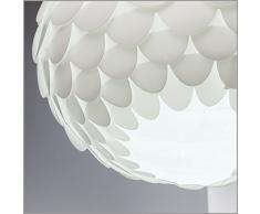 Lampadario moderno, lampada a sospensione per sala da pranzo o soggiorno, lampada da soffitto in plastica per camera da letto e cameretta, bianca, adatta per lampadina LED E27 non inclusa, 230V IP20