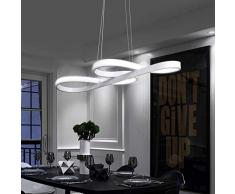 ZMH Lampada a Sospensione LED 42W Lampadario a Sospensione Dimmerabile bianco caldo| neutro | bianco freddo Plafoniera Lampada da soffitto con il telecomando per tavolo da pranzo (bianco) [brevetto]