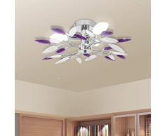 Lampada da Soffitto, Foglie Bianco e Viola Cristallo Acrilico Lampadario, plafoniera moderno lampada da soffitto per soggiorno, cucina, camera, bagno (Viola)