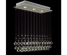 COCOL Plafoniera a LED Plafoniera a sospensione in cristallo Lampada a sospensione moderna Illuminazione a goccia a goccia con GU10 * 3 luci Sfera di cristallo per corridoio cucina Soggiorno camera da
