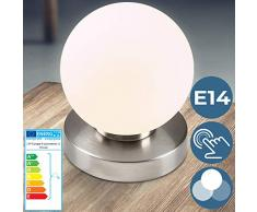 Lampada da Tavolo forma a sfera con Funzione Touch e 3 Livelli Dimmerabili   Set da 1 o da 2 Pezzi, E14, Design   Classica Lampada da Comodino, Lampada da Tavolino (set da 1)